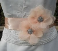 Wedding Dress Sash Organza Flowers And