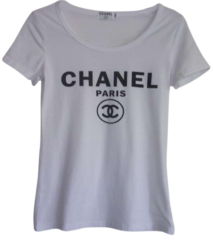 Chanel tops up to 90 off at tradesy for Authentic chanel logo t shirt