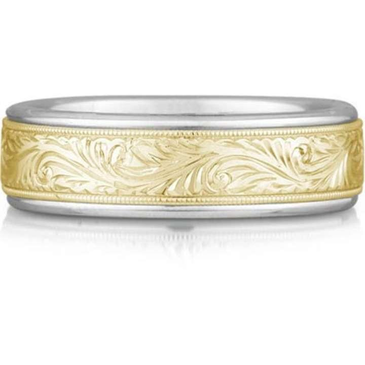 Apples Of Gold Engraved Paisley Wedding Band Ring 14k Two