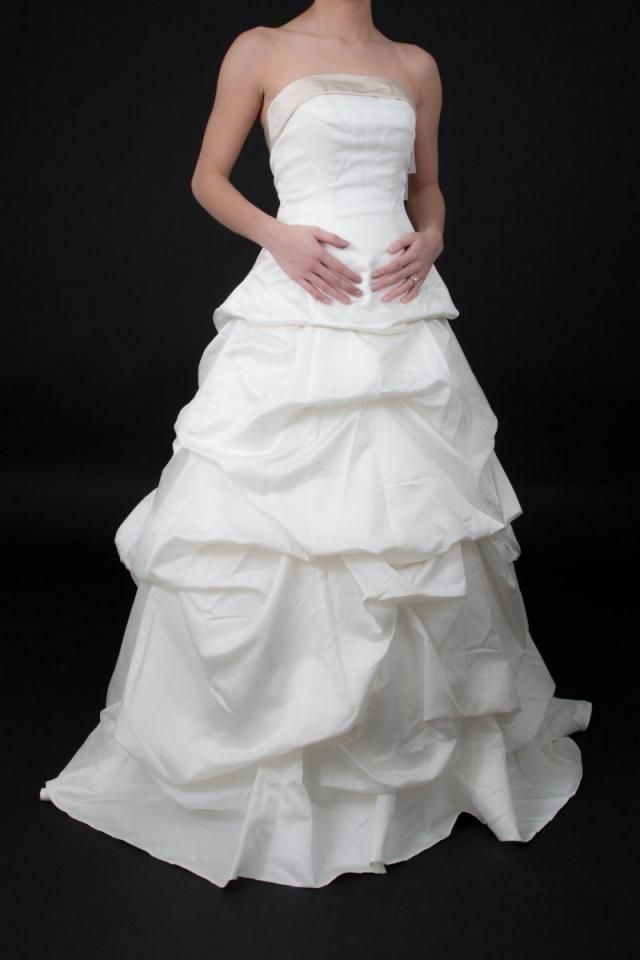 Wedding Gown Lace Up Back : Bridal satin pick up with cuff neckline and lace back wedding dress