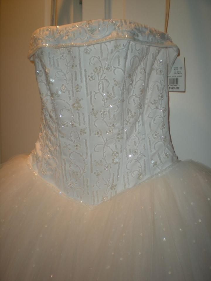 Davids Bridal Strapless Tulle Ball Gown With Beaded Satin Bodice Wedding Dress