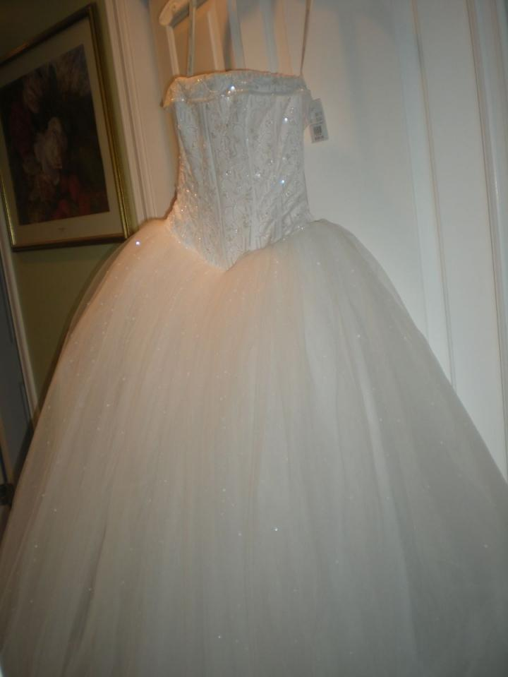 David 39 s bridal strapless tulle ball gown with beaded satin for David s bridal tulle wedding dress