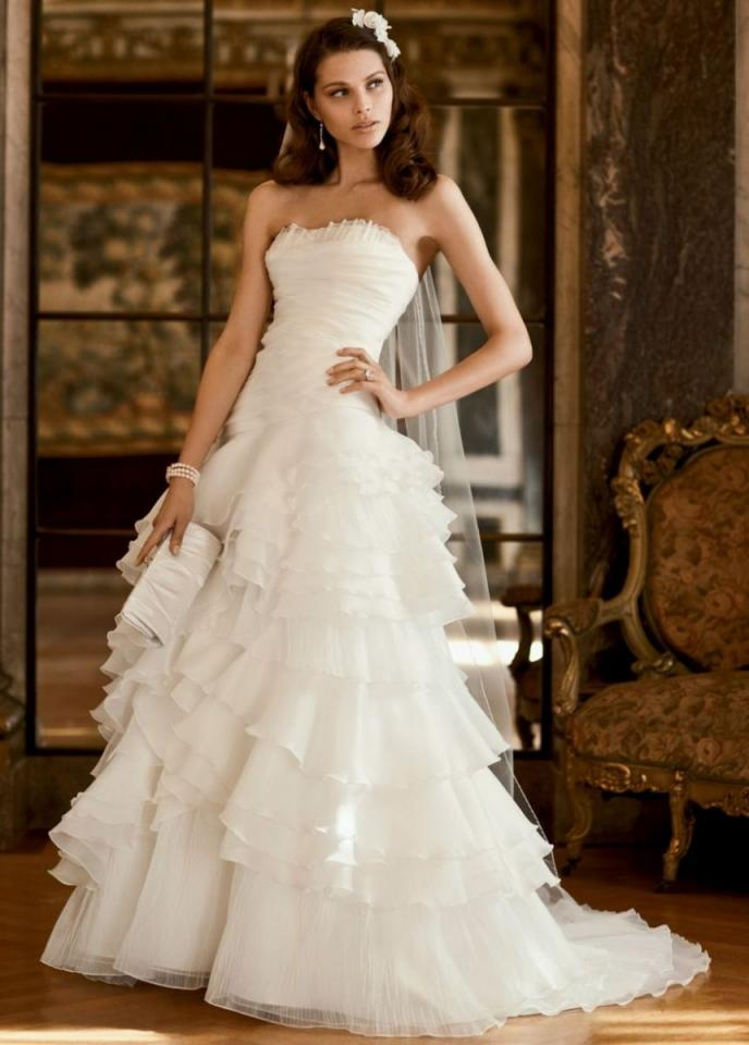 David 39 s bridal organza tiered ball gown with asymmetrical for Tiered ruffle wedding dress