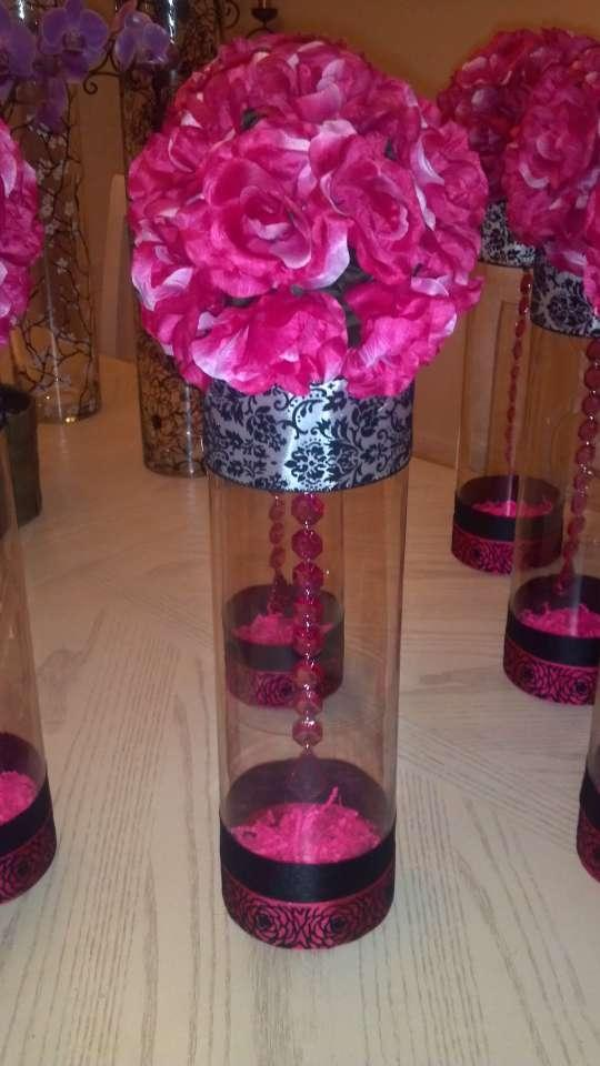 Centerpieces cylinder pink black tradesy weddings