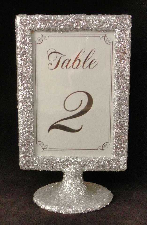 Silver Glitter Table Number Holders Picture Frames