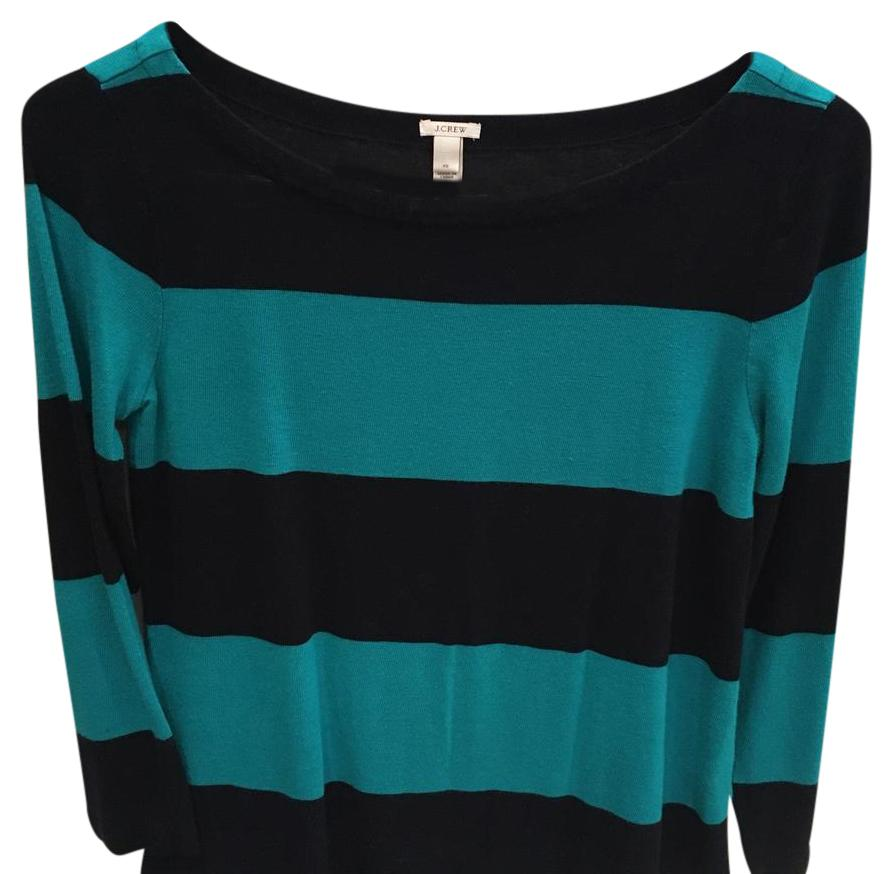 J. Crew black and teal striped sweater
