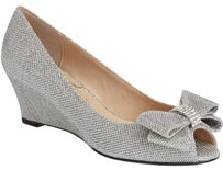 J. Renee Metallic Bow Sparkle Glitter Silver Wedges