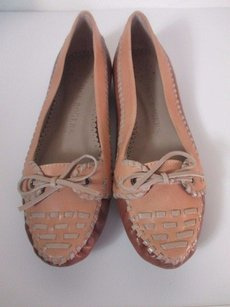 Jack Rogers Jill Pinto Tie Leather Brown Tan Moccasin beige tan Flats