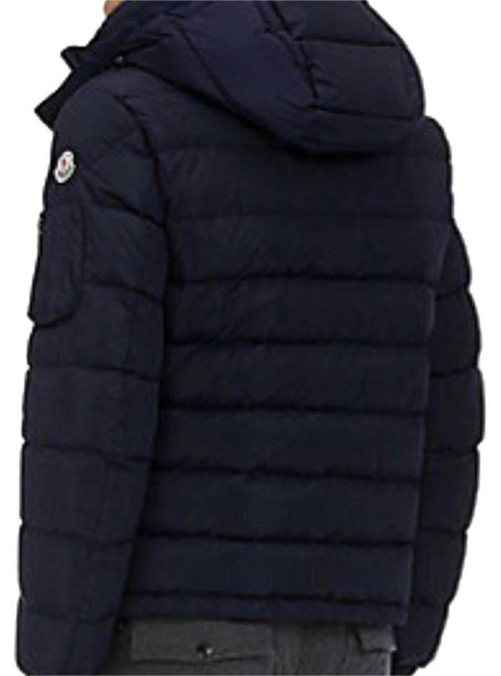 Jacket in laminated nylon with in velvet shoulders and the iconic striped pattern inside. Detachable hood is moncler jacket for man amd women