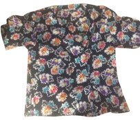 Jaeger Buttons Floral Short Sleeve Top Black
