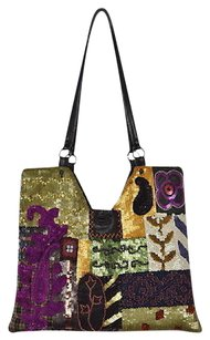 Jamin Puech Womens Navy Sequined Handbag Wool Leather Casual Satchel in Multi-Color