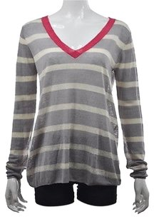 Jamison Womens Gray V Neck Striped Semi Sheer Sweater