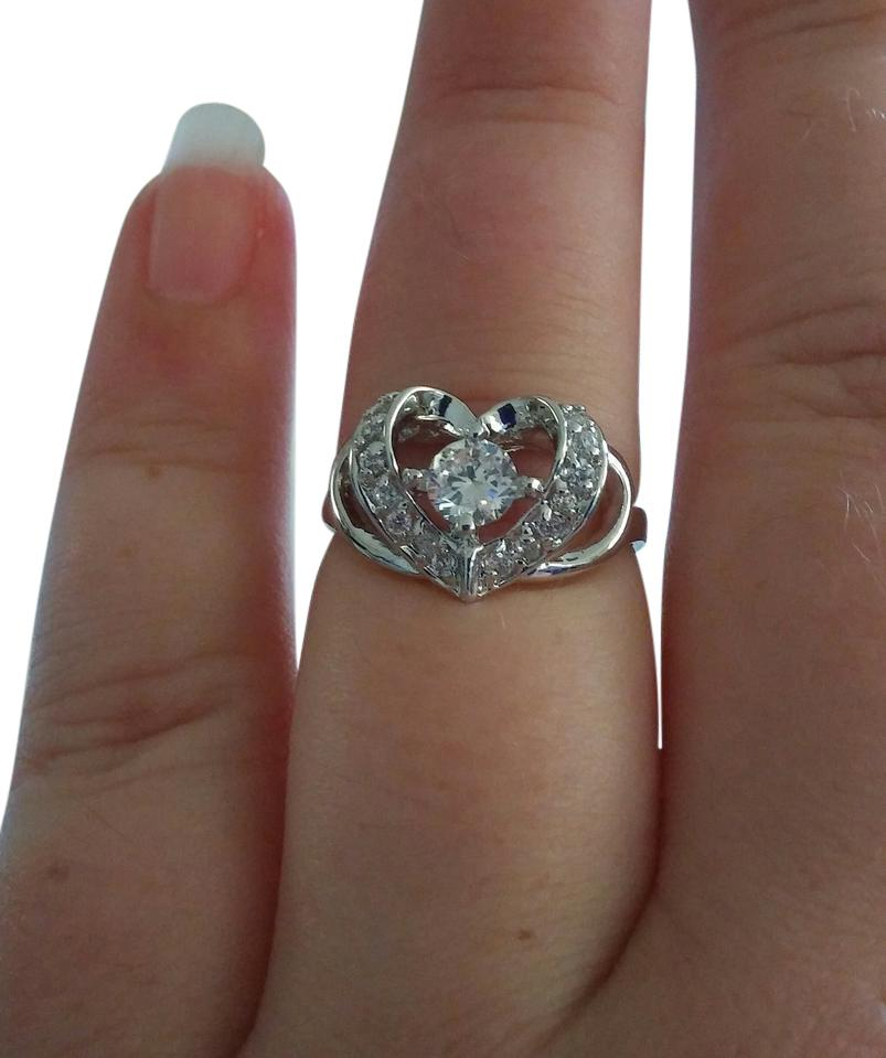 Jared White Gold Stamped Raised Twisted Heart Gem Ring Tradesy