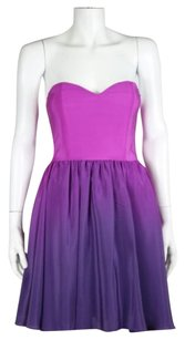 Jay Godfrey Womens Sheath Ombre Silk Strapless Formal Party Dress