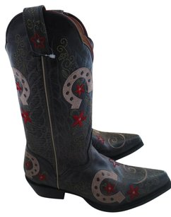 J.B. Dillan Western Embroidered Horseshoe Flowers Leather Distressed gray, red, tan, green Boots
