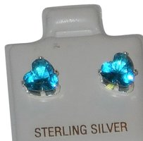 J Brand 925 Sterling Silver Blue Topaz 6mm Stud Earrings