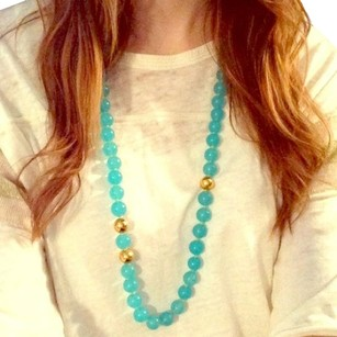 J.Crew BLUE TURQUOISE MINT GOLD GLASS BEAD NECKLACE
