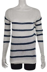 J.Crew Womens White Boat Neck Striped Linen Casual Shirt Sweater
