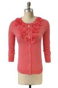 J.Crew Frilly Ruffled Spring Celosia Button Up Wool Cardigan Sweater
