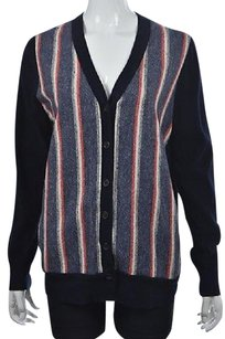 J.Crew Womens Blue Cardigan Striped Speckled Long Sleeve Sweater