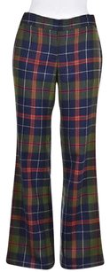J.Crew Womens Green Casual Plaid Wool Flare Trousers Pants