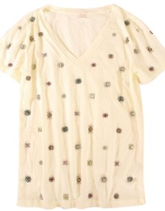 J.Crew Embellished T T Shirt Cream
