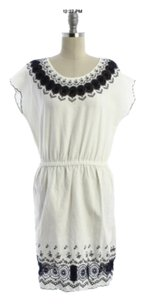 J.Crew short dress White/Navy Embroidered on Tradesy
