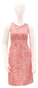 J.Crew short dress Pink, Gold Floral Metallic Jacquard Collection Keyhole on Tradesy