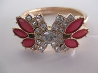 J.Crew J.crew Antique Brass Snake Multi Crystal Cabochon Stretch Bracelet Pink