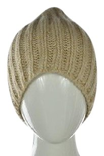 J.Crew J Crew Womens Beige Textured Beanie Os Wool Casual Hat Outer Wear