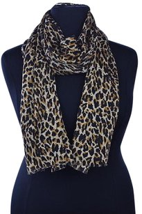 J.Crew J Crew Womens Pale Yellow Scarf Os Animal Print Wool Casual Fringed