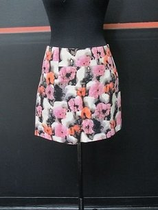 J.Crew Crew Pink Black Orange Side Zip Casual Career Mini C939 Mini Skirt Multi-Color