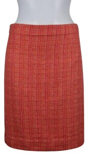 J.Crew Womens Pencil Wool Knit Knee Length Straight Skirt Pink Gold Orange