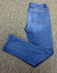 J.Crew Crew Blue Cotton Flat Zip Front Pocket Matchstick R Sm7780 Straight Leg Jeans