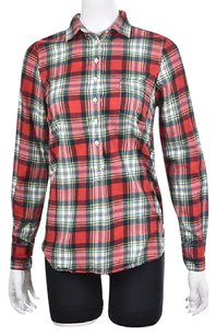 J.Crew Womens Red Plaid Long Sleeve Collared Shirt Causal Top Multi-Color