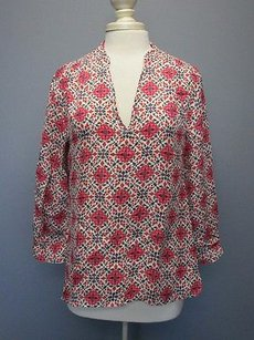 J.Crew Silk Sleeves V Front 1400 A Top white, pink, navy blue