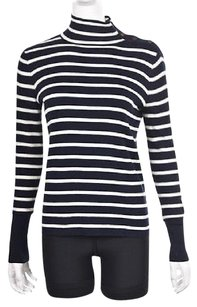 J.Crew J Crew Womens Ivory Navy Mock Sweater
