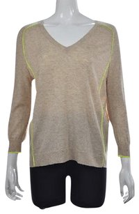 J.Crew Womens Beige V Neck Speckled Wool Long Sleeve Sweater