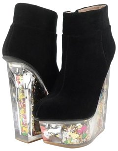 Jeffery Campbell Icy Black Suede Multi Glitter Designer Wedge Ankle Multi-Color Boots