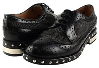 Jeffey Campbell Townstd Black Box Grey Tweed Studded Designer Lace Up Oxfords Multi-Color Flats