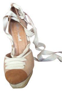 Jeffrey Campbell Beige and brown swede shoes with off white laces. Platforms