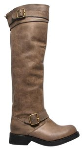 Jeffrey Campbell Over The Knee Knee High Closed Toe Buckle Straps Hand-distressed Khaki Boots