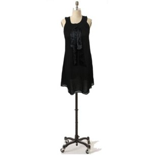 Jenny Han short dress Black 100 Silk Sash Neckline Flare T on Tradesy