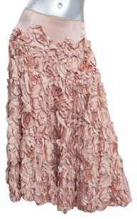 Jenny Packham Womens Silk Satin Rosette Ruffle Formal 8us 4s Skirt Pink