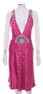 Jenny Packham Silk Beaded A-line Halter Ruched Designer One Of A Kind Rare Sleeveless Dress
