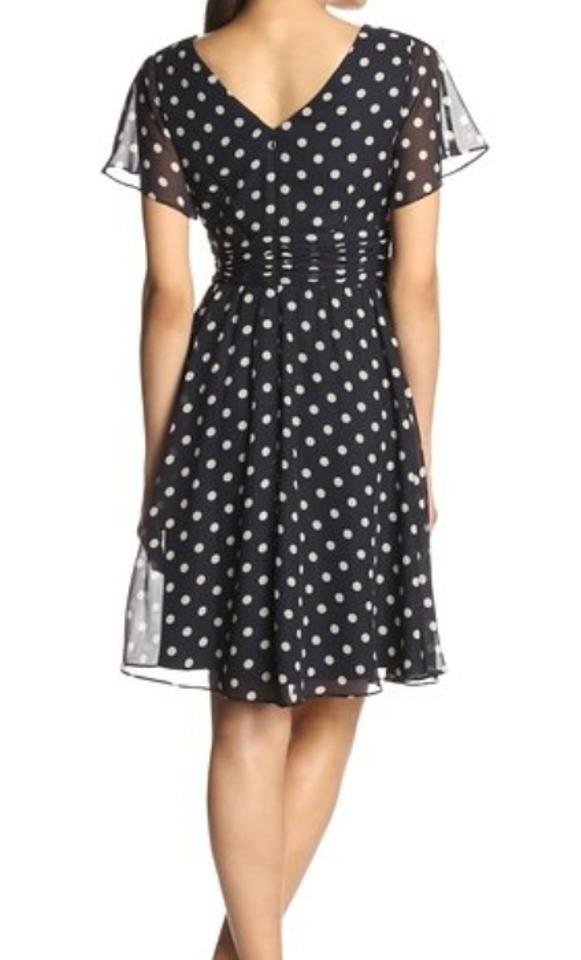 Jessica Howard Navy Blue Flutter Sleeve Polka Dot Chiffon ...