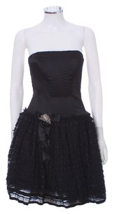 Jessica McClintock Lace Tuelle Strapless Layered Tiered Embellished Rhinestone Dress