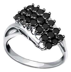 Jeweler's Club 1 Carat Genuine Black Diamond Waterfall Ring in Sterling Silver