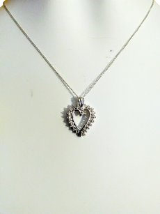 Jewelers Club White Diamond accent Sterling Silver heart pendant