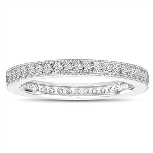 Diamond Eternity Wedding Band Eternity Ring Anniversary Ring Stackable Ring 14k White Gold 0.45 Carat Pave Milgrain